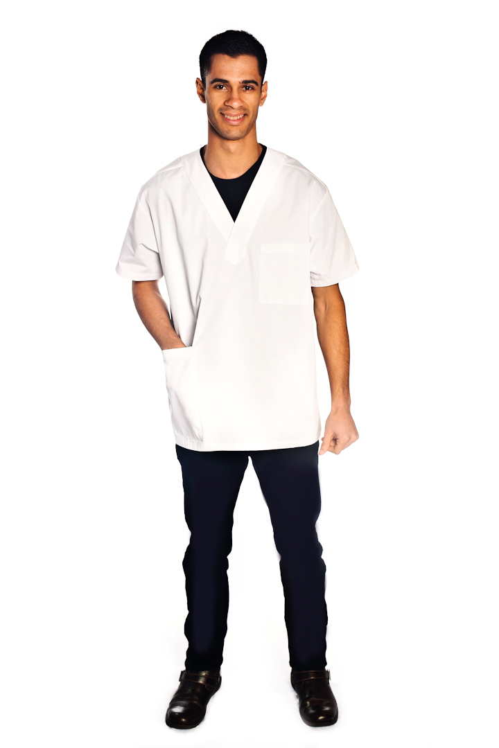 Classic v neck scrub top style 1601 for Spa vest uniform